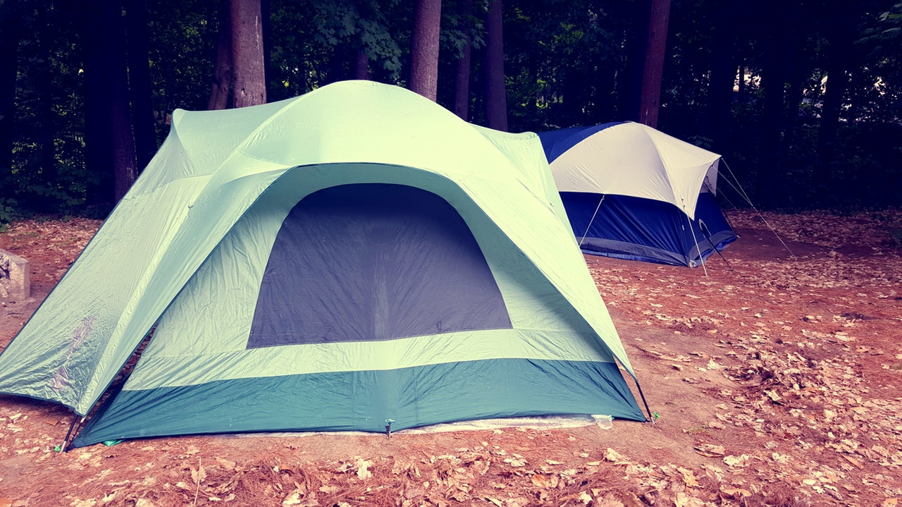 Photo of two tents on a forest
